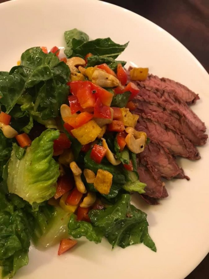 Flank steak with roasted butternut squash and toasted cashew asian salad.jpg