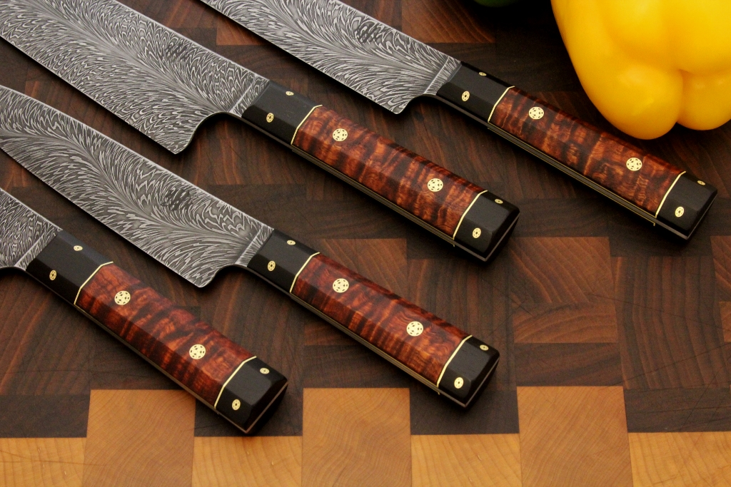 Hhh Knives Damascus With Koa 4 Piece Kitchen Set The